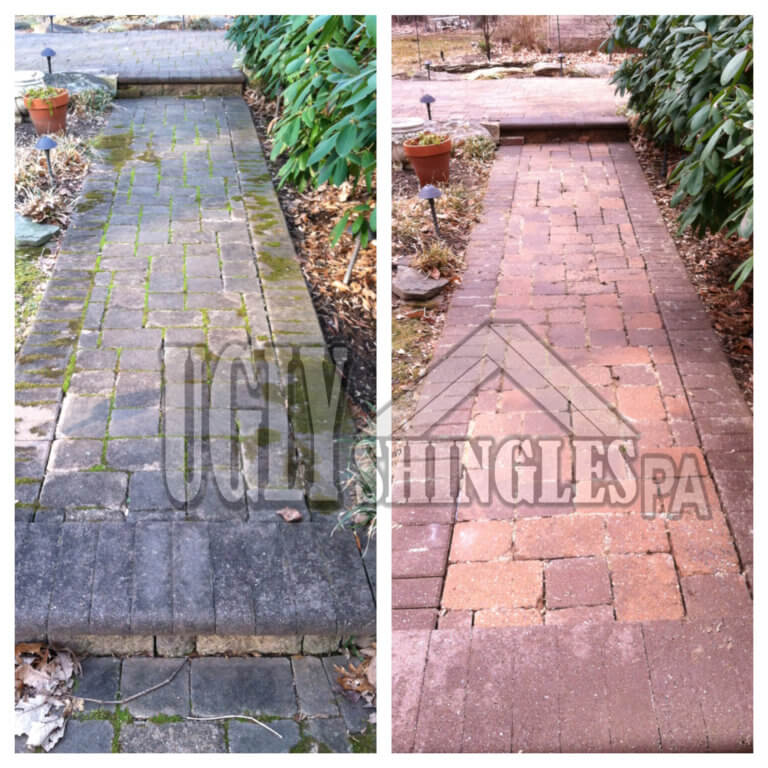 ugly shingles pa paver walkway cleaning