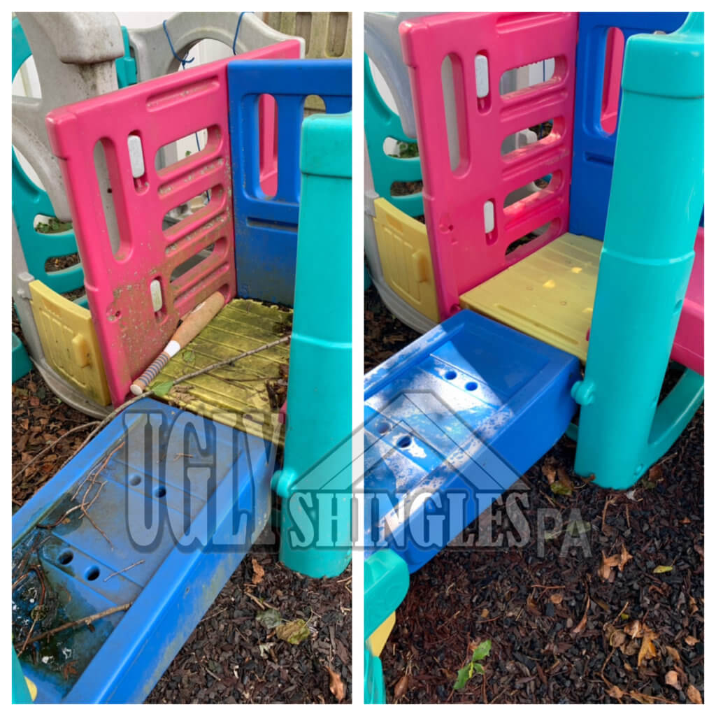 Outdoor play system before and after cleaned by Ugly Shingles PA