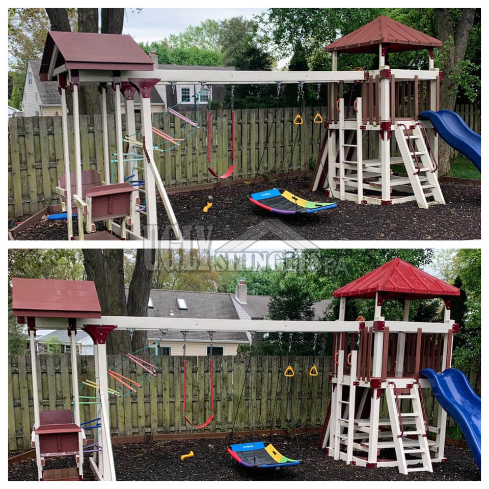 Clean outdoor playsets
